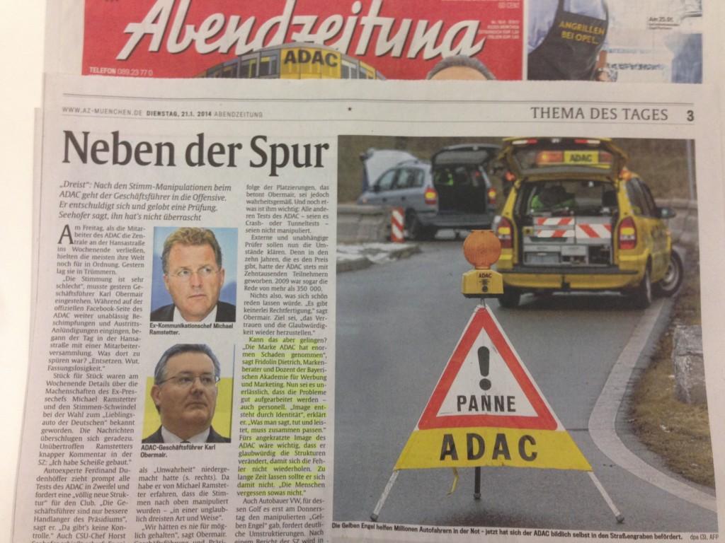 Artikel zum Thema Glaubwürdigkeit beim ADAC